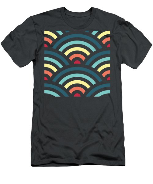 Rainbowaves Pattern Dark Men's T-Shirt (Slim Fit) by Freshinkstain