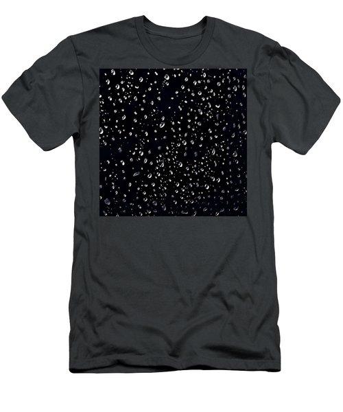 Raindrops On Black Men's T-Shirt (Athletic Fit)