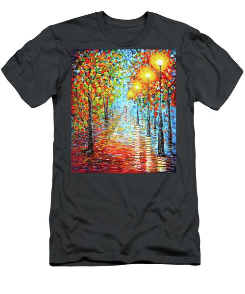 Men's T-Shirt (Athletic Fit) featuring the painting Rainy Autumn Evening In The Park Acylic Palette Knife Painting by Georgeta Blanaru