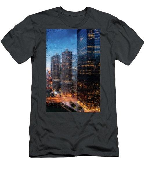Rainy Chicago River  Men's T-Shirt (Athletic Fit)