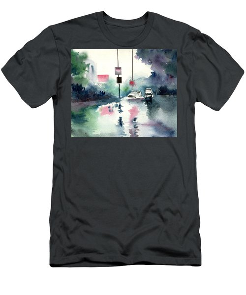 Rainy Day Men's T-Shirt (Slim Fit) by Anil Nene