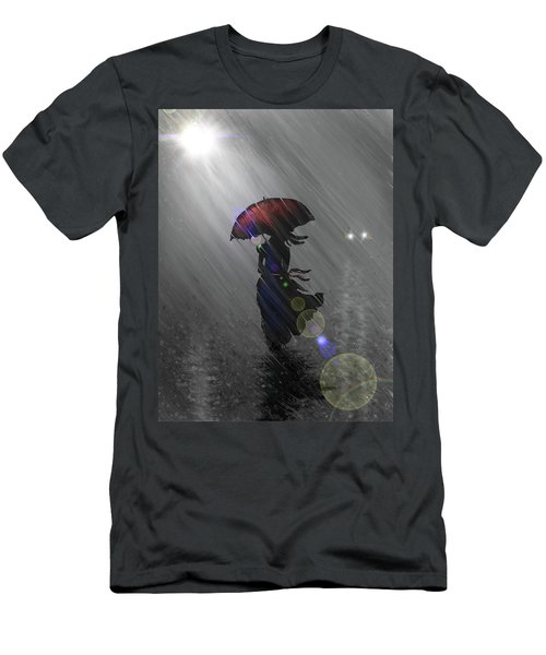 Men's T-Shirt (Athletic Fit) featuring the digital art Rainy Walk by Darren Cannell