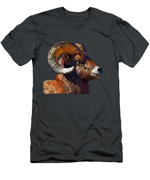 Ram Portrait - Rocky Mountain Bighorn Sheep By Olena Art Men's T-Shirt (Athletic Fit)