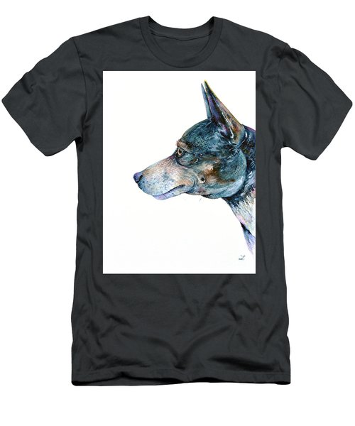 Men's T-Shirt (Slim Fit) featuring the painting Rat Terrier by Zaira Dzhaubaeva