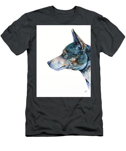 Men's T-Shirt (Athletic Fit) featuring the painting Rat Terrier by Zaira Dzhaubaeva