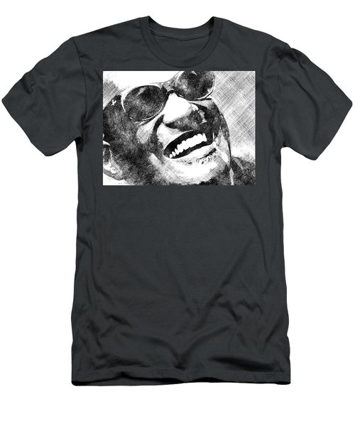 Ray Charles Bw Portrait Men's T-Shirt (Slim Fit) by Mihaela Pater