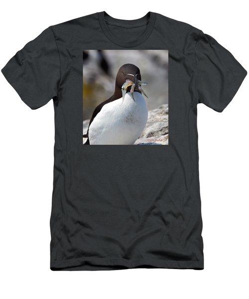 Razorbill With Catch Men's T-Shirt (Slim Fit) by Mike Dodak