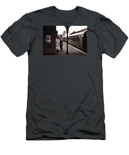 Men's T-Shirt (Slim Fit) featuring the photograph Ready To Depart Corfe Castle Station by Nop Briex