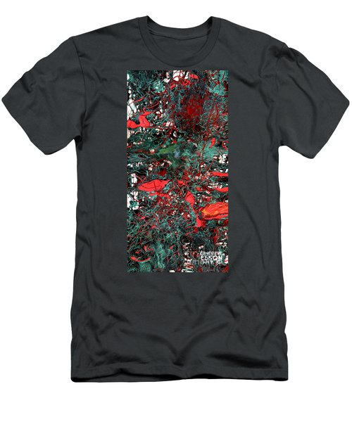Men's T-Shirt (Slim Fit) featuring the painting Red And Black Turquoise Drip Abstract by Genevieve Esson