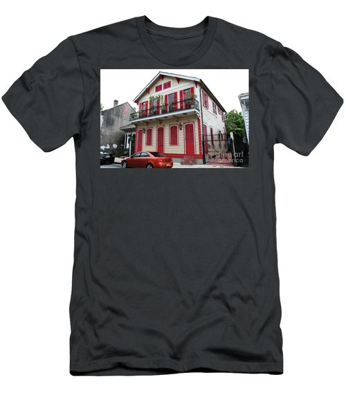 Men's T-Shirt (Slim Fit) featuring the photograph Red And Tan House by Steven Spak