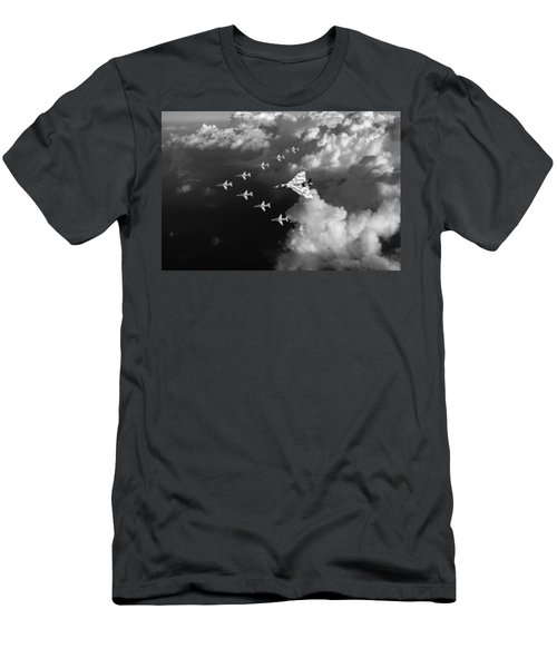 Red Arrows And Vulcan Above Clouds Black And White Men's T-Shirt (Athletic Fit)