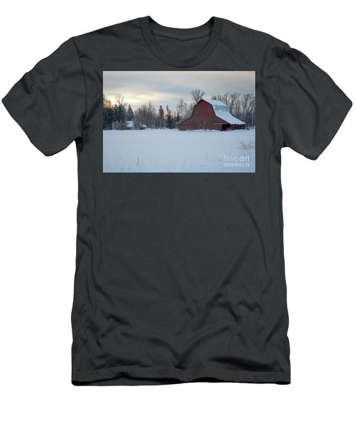 Red Barn At Dawn Men's T-Shirt (Athletic Fit)