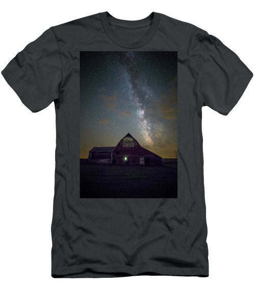 Men's T-Shirt (Athletic Fit) featuring the photograph Red Barn Galaxy  by Aaron J Groen