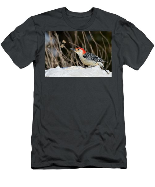 Men's T-Shirt (Athletic Fit) featuring the photograph Red-bellied Woodpecker In The Snow by Angel Cher