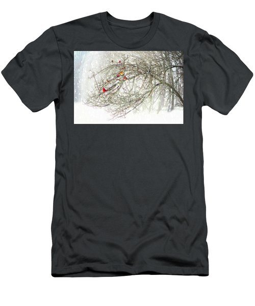 Men's T-Shirt (Athletic Fit) featuring the digital art Red Bird Convention by Sue Collura