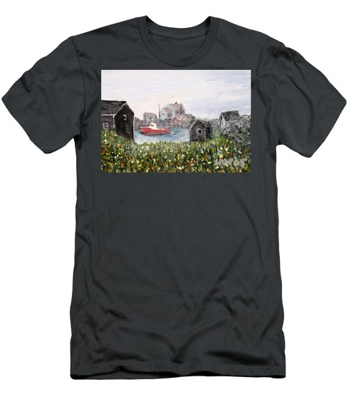 Men's T-Shirt (Slim Fit) featuring the painting Red Boat In Peggys Cove Nova Scotia  by Ian  MacDonald