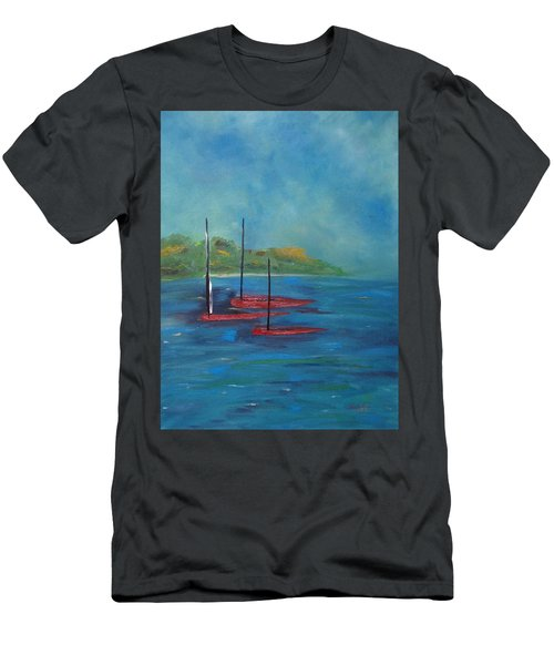 Men's T-Shirt (Athletic Fit) featuring the painting Red Boats by Judith Rhue