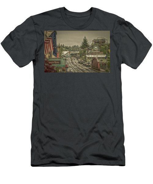 Men's T-Shirt (Slim Fit) featuring the photograph Red Bridge Haze by Timothy Latta
