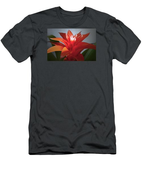 Red Bromeliad Bloom. Men's T-Shirt (Slim Fit) by Terence Davis