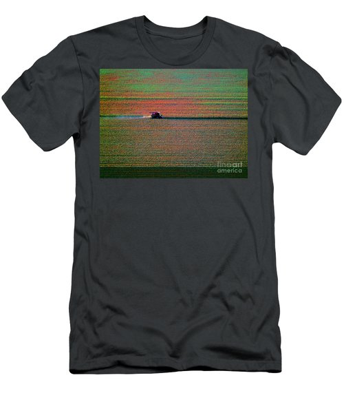 Red Combine Harvesting  Mchenry Aerial Men's T-Shirt (Athletic Fit)
