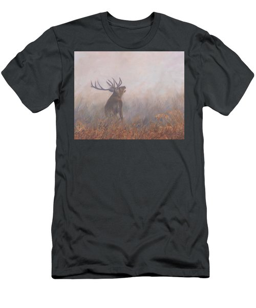 Men's T-Shirt (Slim Fit) featuring the painting Red Deer Stag Early Morning by David Stribbling