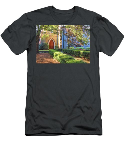 Men's T-Shirt (Athletic Fit) featuring the photograph Red Door Church by Kim Hojnacki
