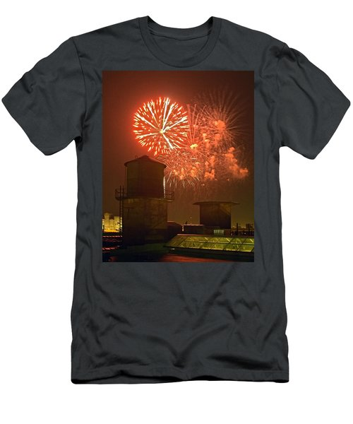 Red Fireworks Men's T-Shirt (Athletic Fit)