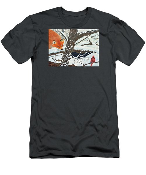 Red Fox And Cardinal Men's T-Shirt (Athletic Fit)