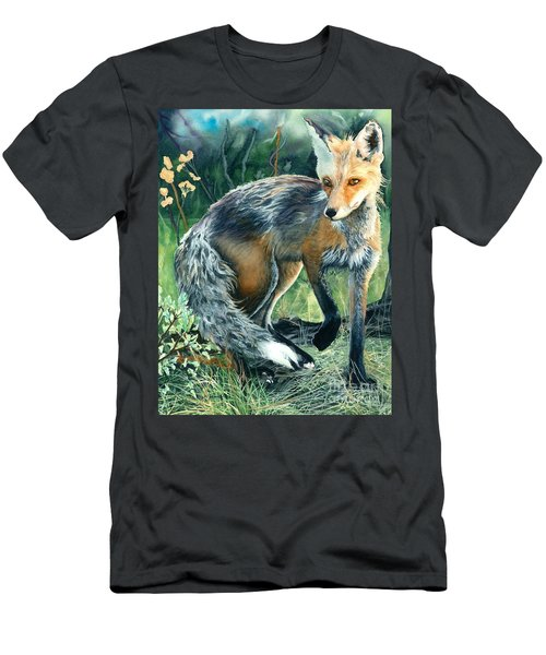 Men's T-Shirt (Slim Fit) featuring the painting Red Fox- Caught In The Moment by Barbara Jewell