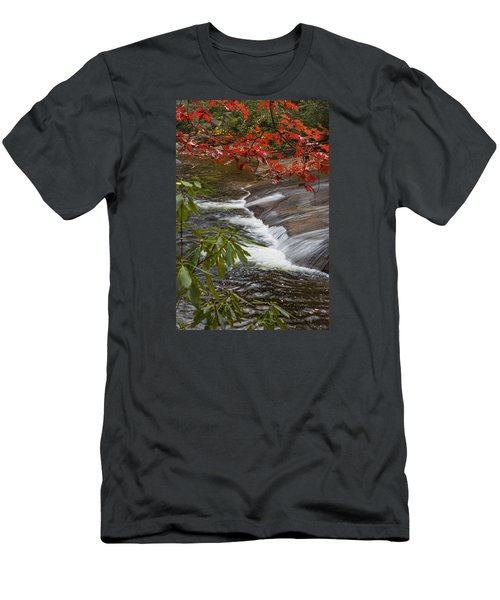 Red Leaf Falls Men's T-Shirt (Athletic Fit)