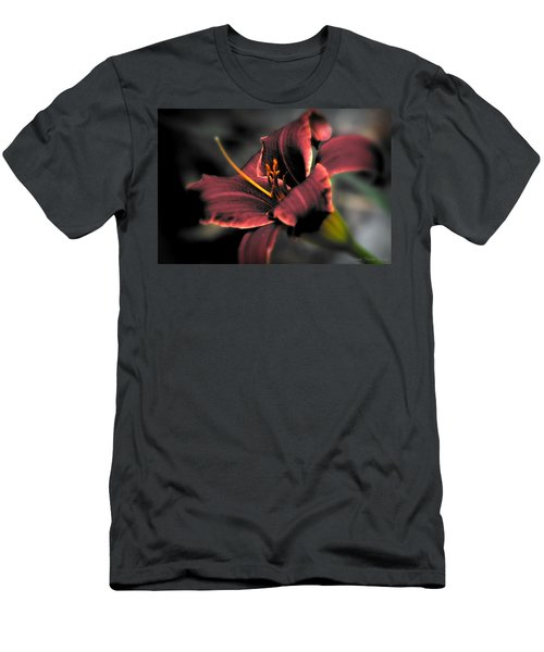 Red Lilly2 Men's T-Shirt (Slim Fit) by Michaela Preston