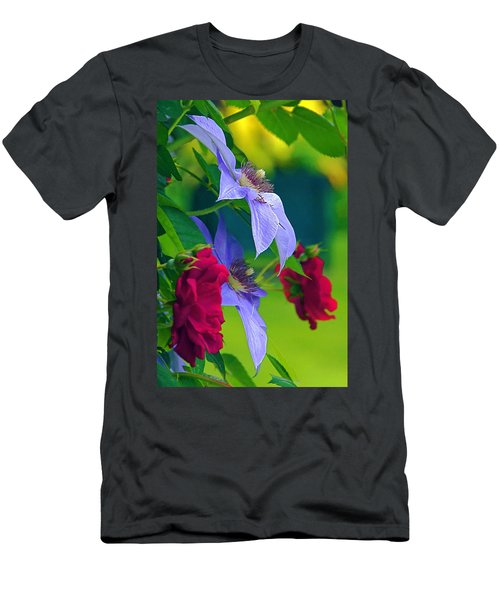 Men's T-Shirt (Athletic Fit) featuring the photograph Red Meets Lavender by Byron Varvarigos