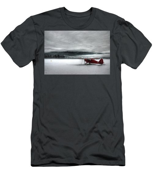 Men's T-Shirt (Athletic Fit) featuring the photograph Red Plane In A Monochrome World by Wayne King
