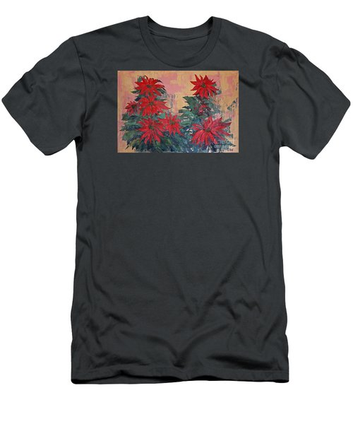 Red Poinsettias By George Wood Men's T-Shirt (Athletic Fit)
