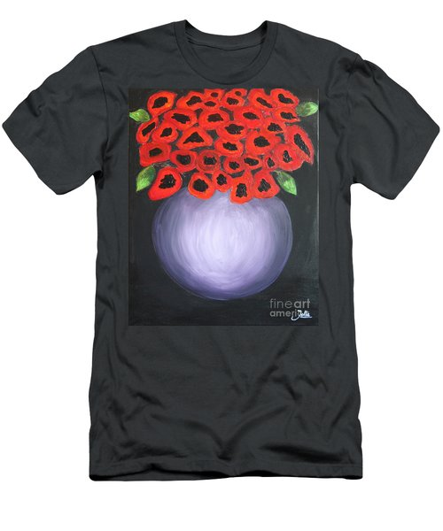 Men's T-Shirt (Slim Fit) featuring the painting Red Poppies  by Jolanta Anna Karolska