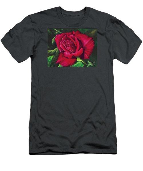 Red Rose Men's T-Shirt (Slim Fit) by Nancy Cupp