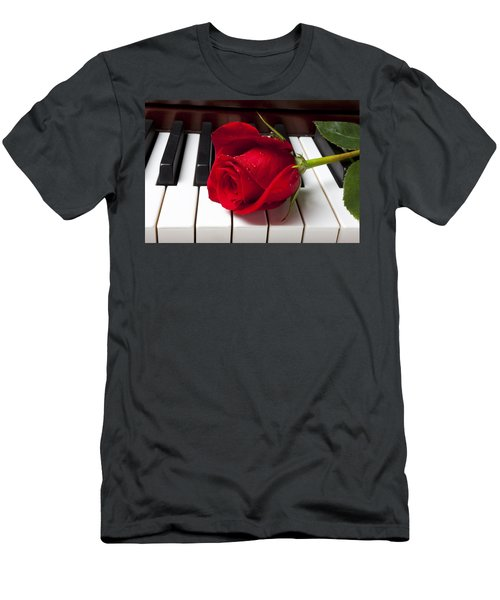 Red Rose On Piano Keys Men's T-Shirt (Slim Fit) by Garry Gay