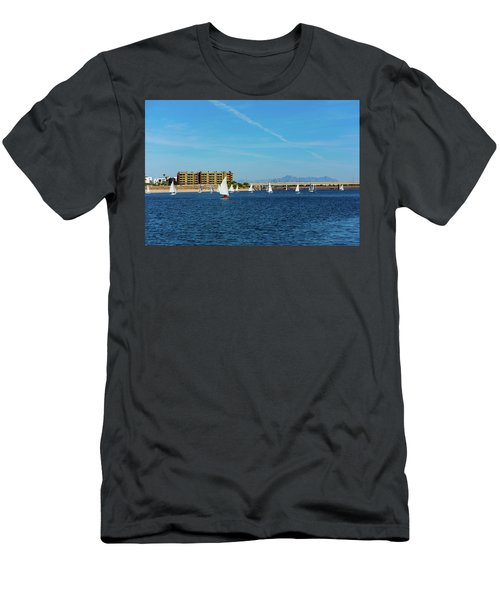 Red Sailboat In The Desert Men's T-Shirt (Athletic Fit)