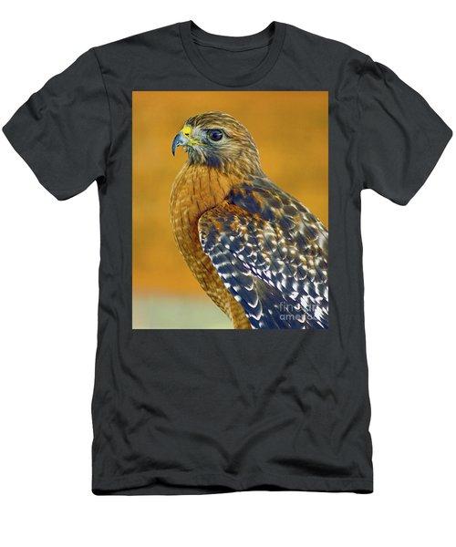 Red Shouldered Hawk Men's T-Shirt (Slim Fit) by Larry Nieland