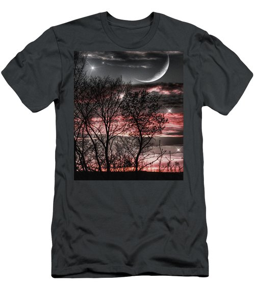 Men's T-Shirt (Athletic Fit) featuring the photograph Red Sky Moon by Marianna Mills