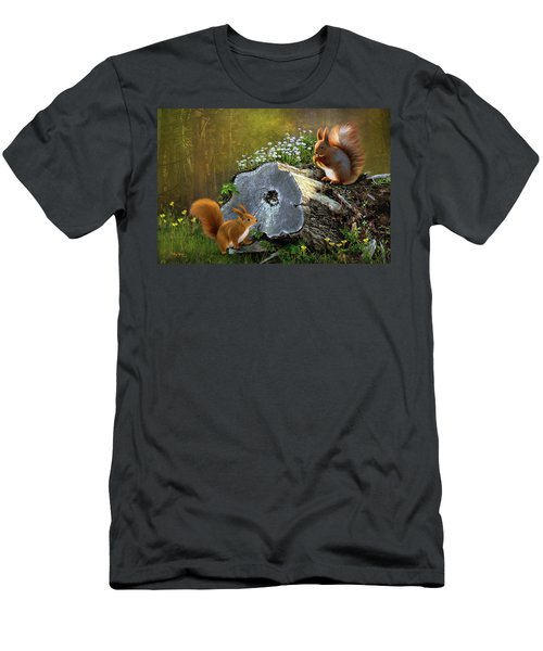 Men's T-Shirt (Slim Fit) featuring the digital art Red Squirrels by Thanh Thuy Nguyen