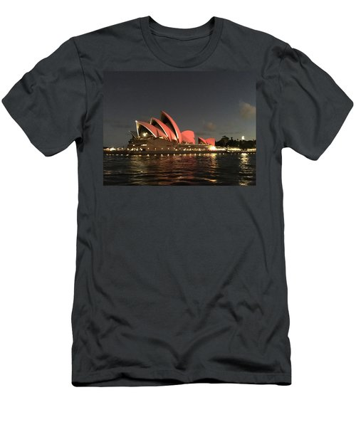Red Sydney Opera House Men's T-Shirt (Athletic Fit)