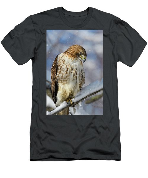 Men's T-Shirt (Athletic Fit) featuring the photograph Red Tailed Hawk, Glamour Pose by Michael Hubley