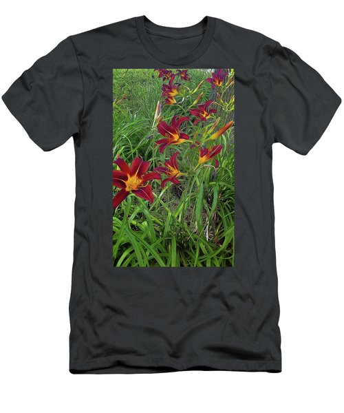 Red Tigerlily Garden Men's T-Shirt (Athletic Fit)