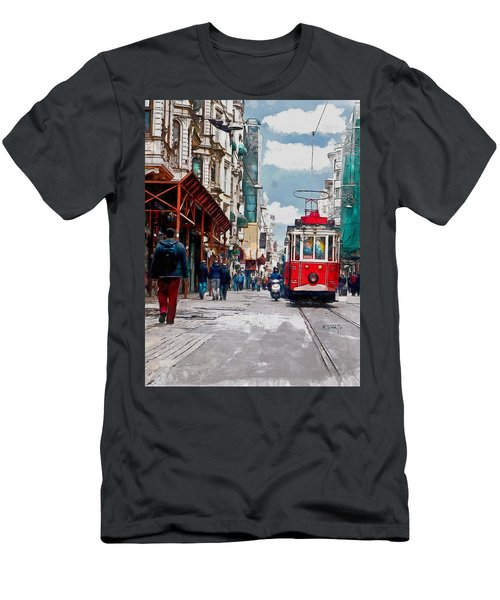 Men's T-Shirt (Slim Fit) featuring the digital art Red Tram by Kai Saarto