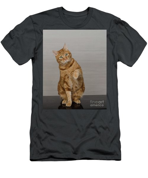 Red Tubby Cat Tabasco Waiving Men's T-Shirt (Athletic Fit)