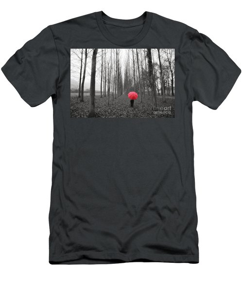 Red Umbrella In An Allee Men's T-Shirt (Athletic Fit)