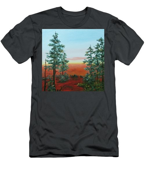 Men's T-Shirt (Slim Fit) featuring the painting Redwood Overlook by Roseann Gilmore