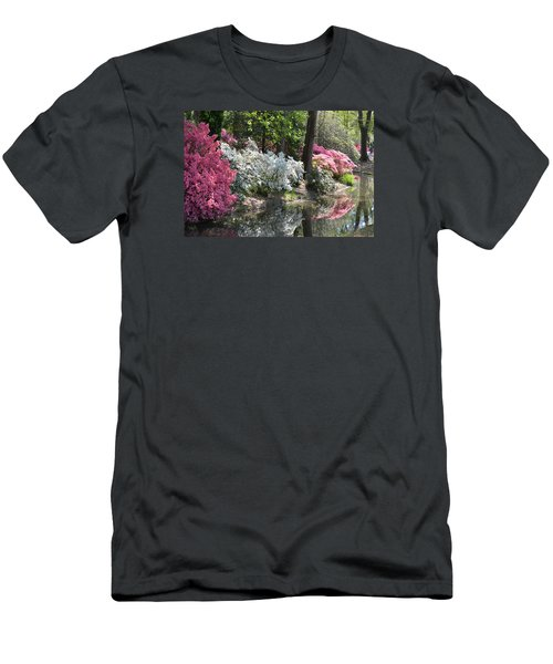Reflecting Azaleas Men's T-Shirt (Slim Fit) by Linda Geiger