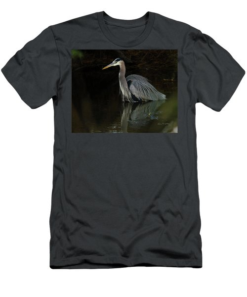 Men's T-Shirt (Slim Fit) featuring the photograph Reflection Of A Heron by George Randy Bass